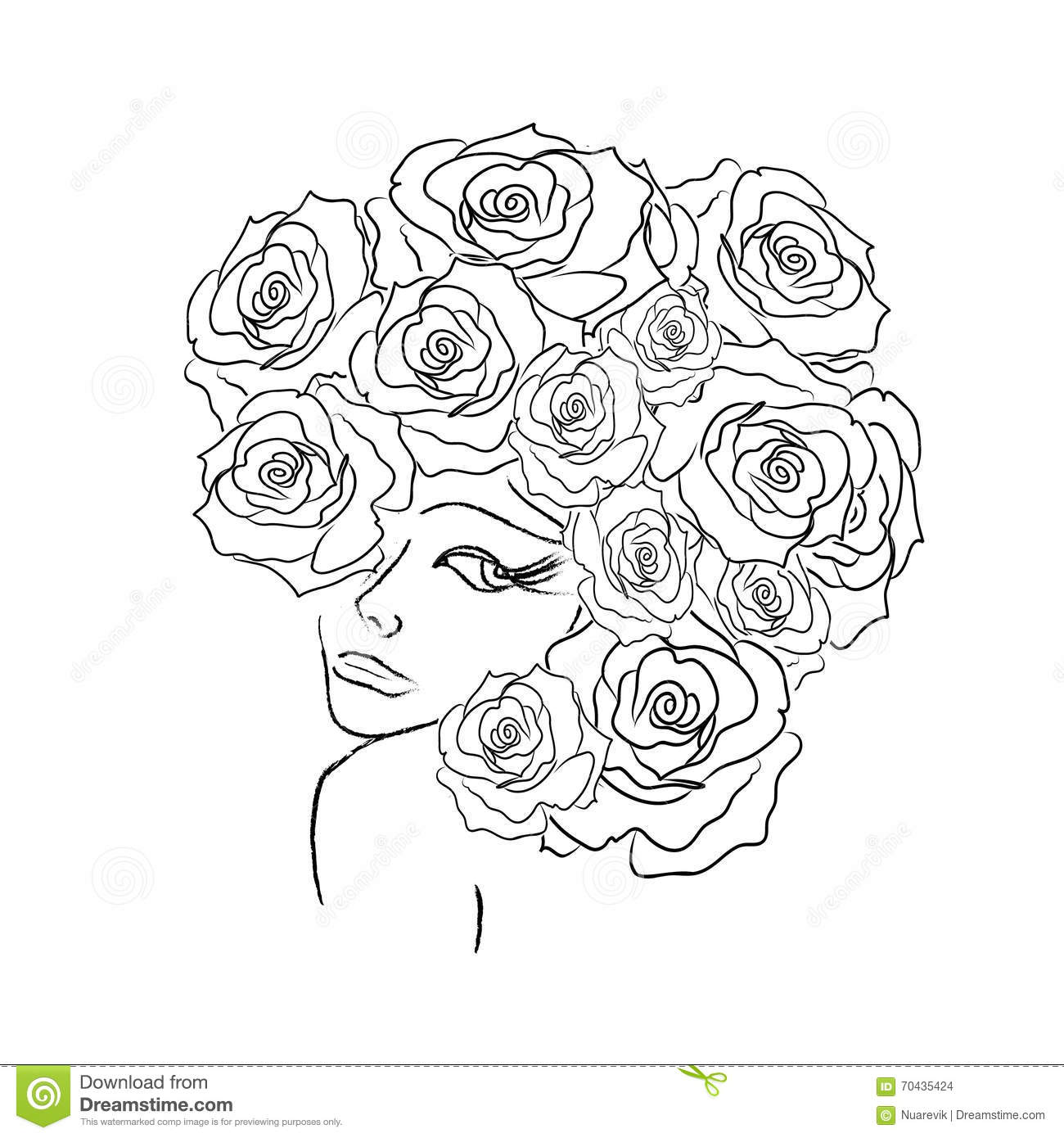 women coloring pages Women Head With Roses Decorative Coloring Page Stock Illustration  women coloring pages
