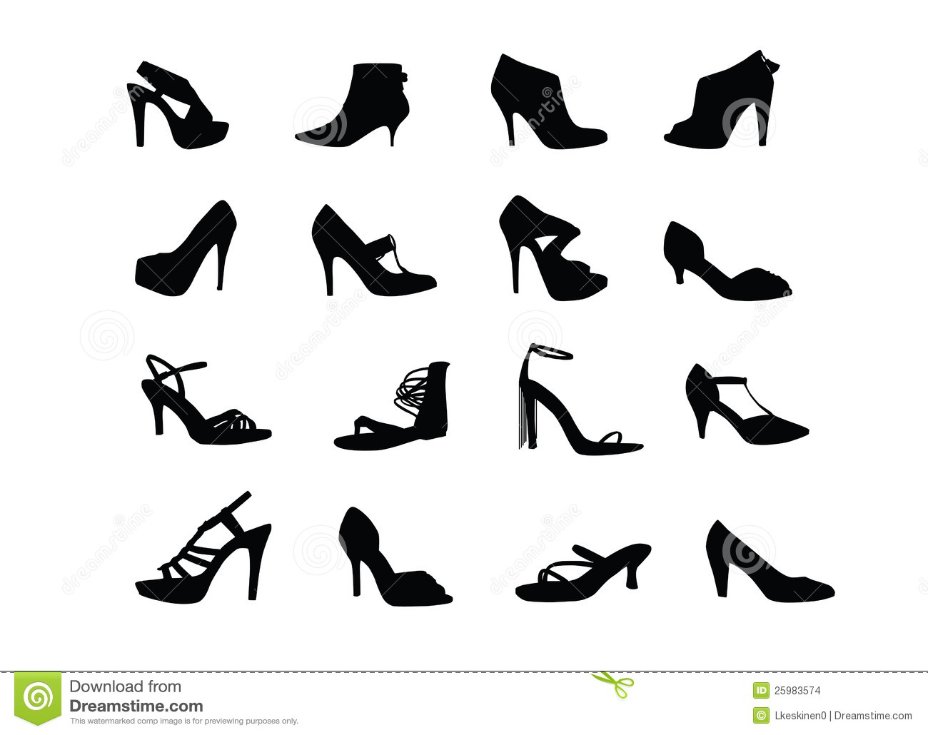 Women Heel Shoes Silhouettes Stock Vector Illustration Of Clog