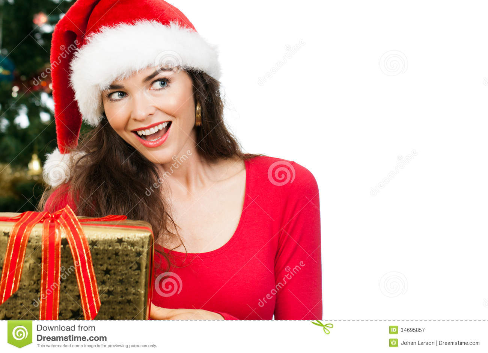 Women Holding Christmas Gift Royalty Free Stock