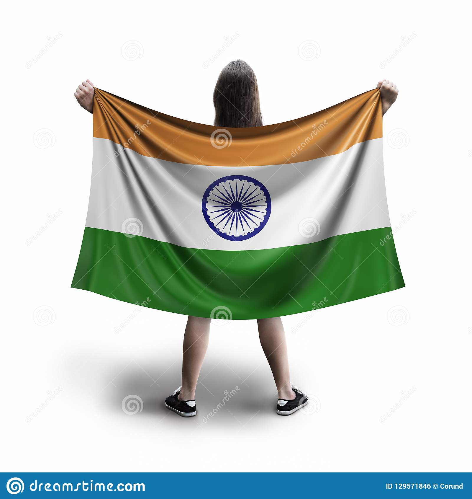 Women and Indian flag