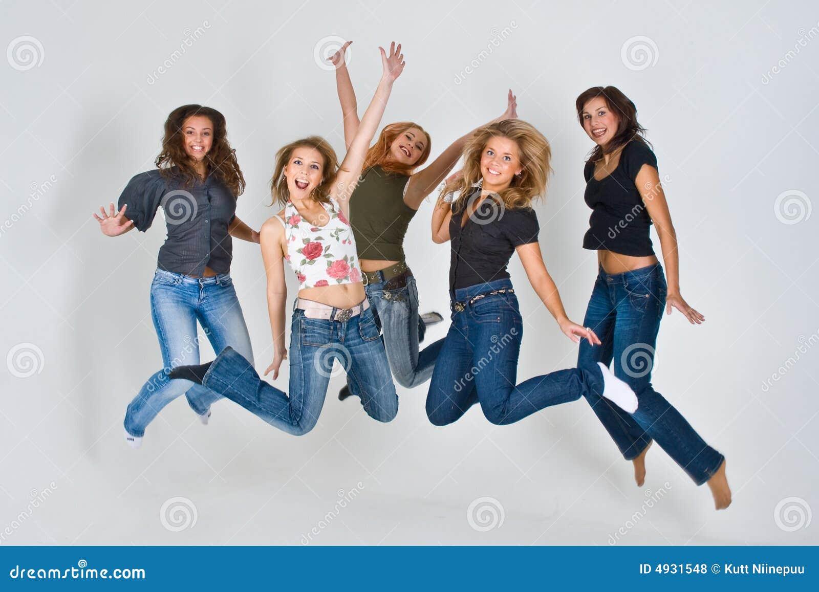 Women jumping in air