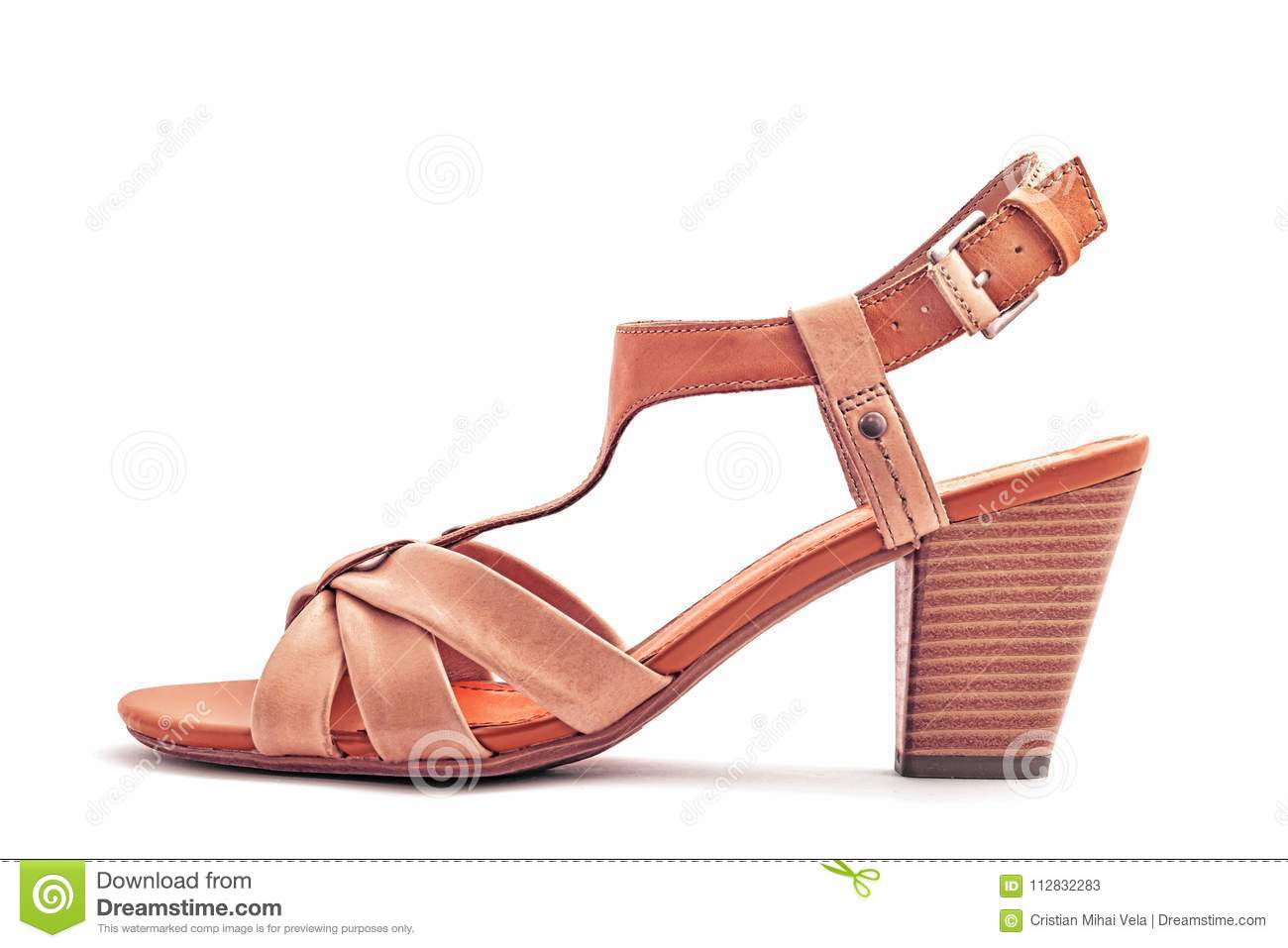 Download Women leather sandal stock image. Image of strap, accessory - 112832283