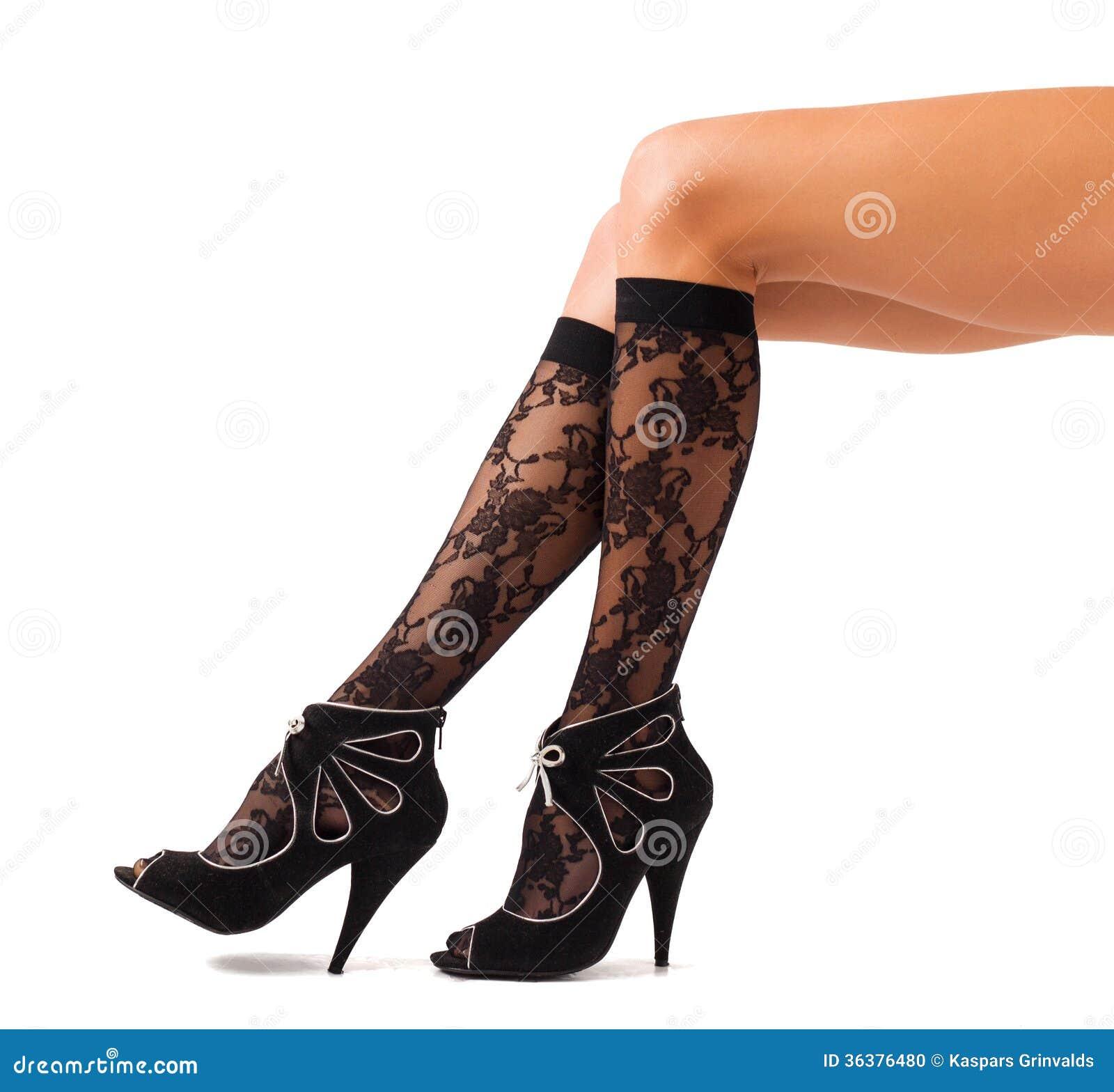 Stylish Black Woman: Women Legs In Stylish Black Socks And High Heel Shoes