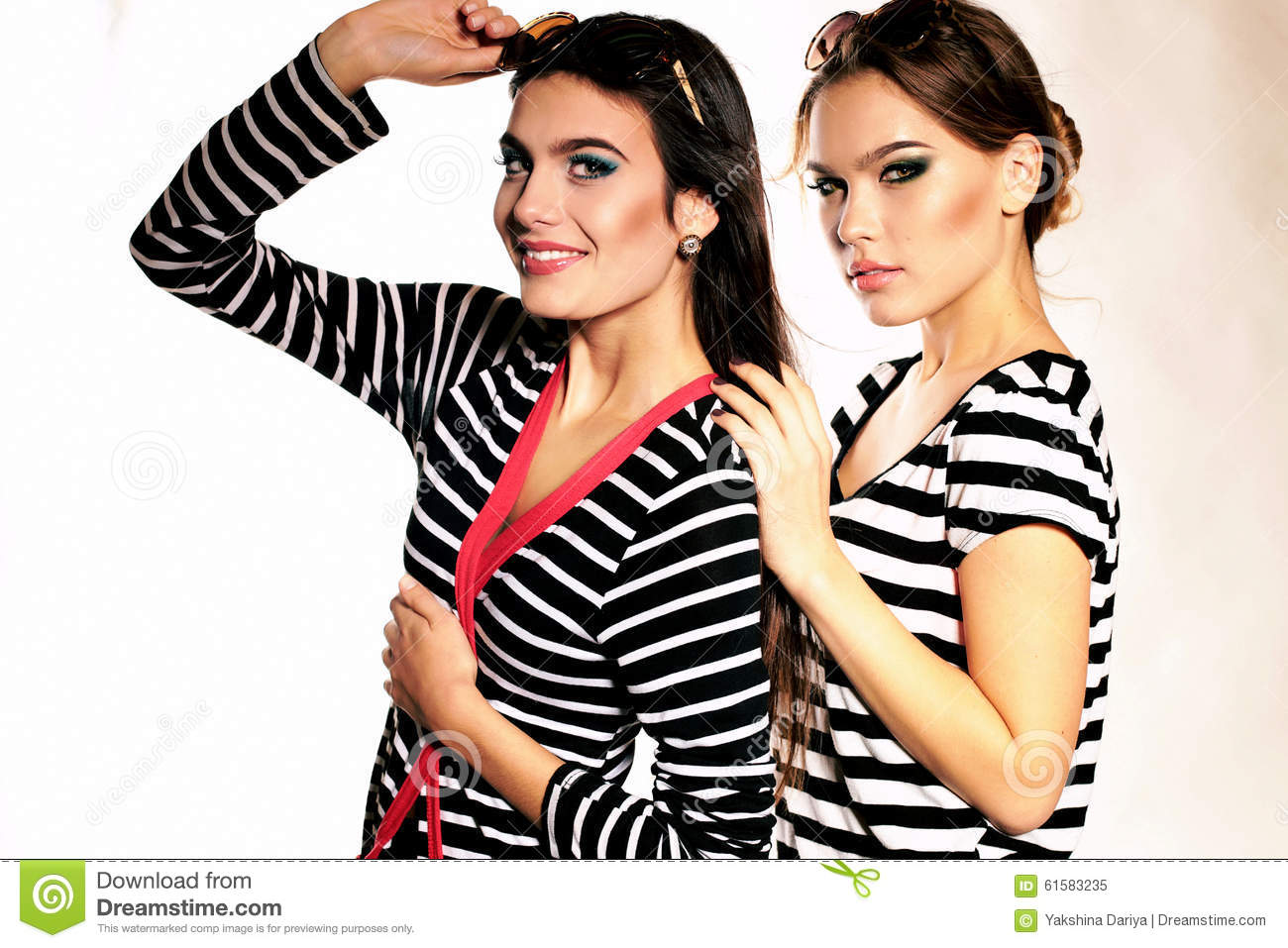 Women With Long Hair And Bright Makeup Wears Striped