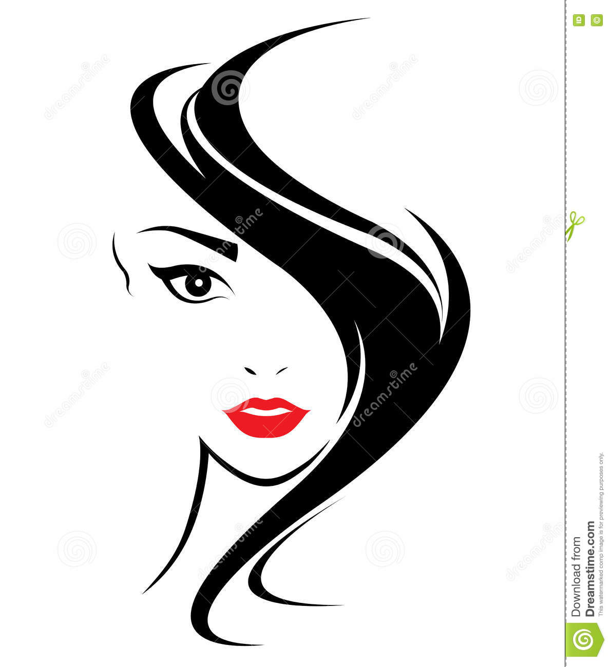 Women Long Hair Style Icon, Logo Women Face Stock Vector ...