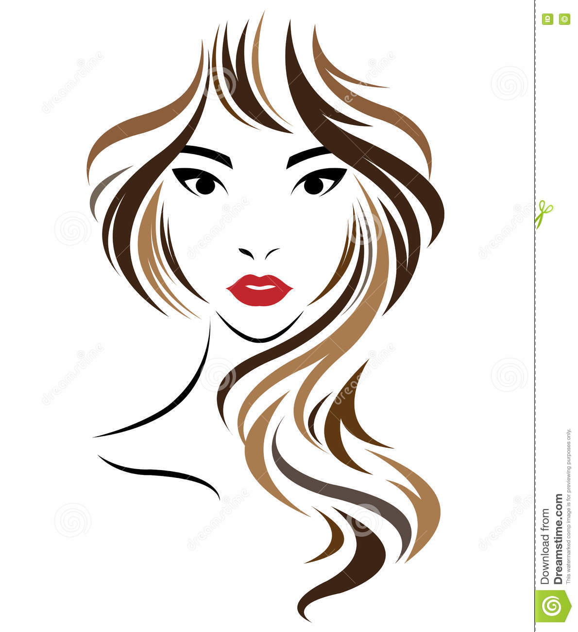 long hair style icon  logo women face cartoon vector
