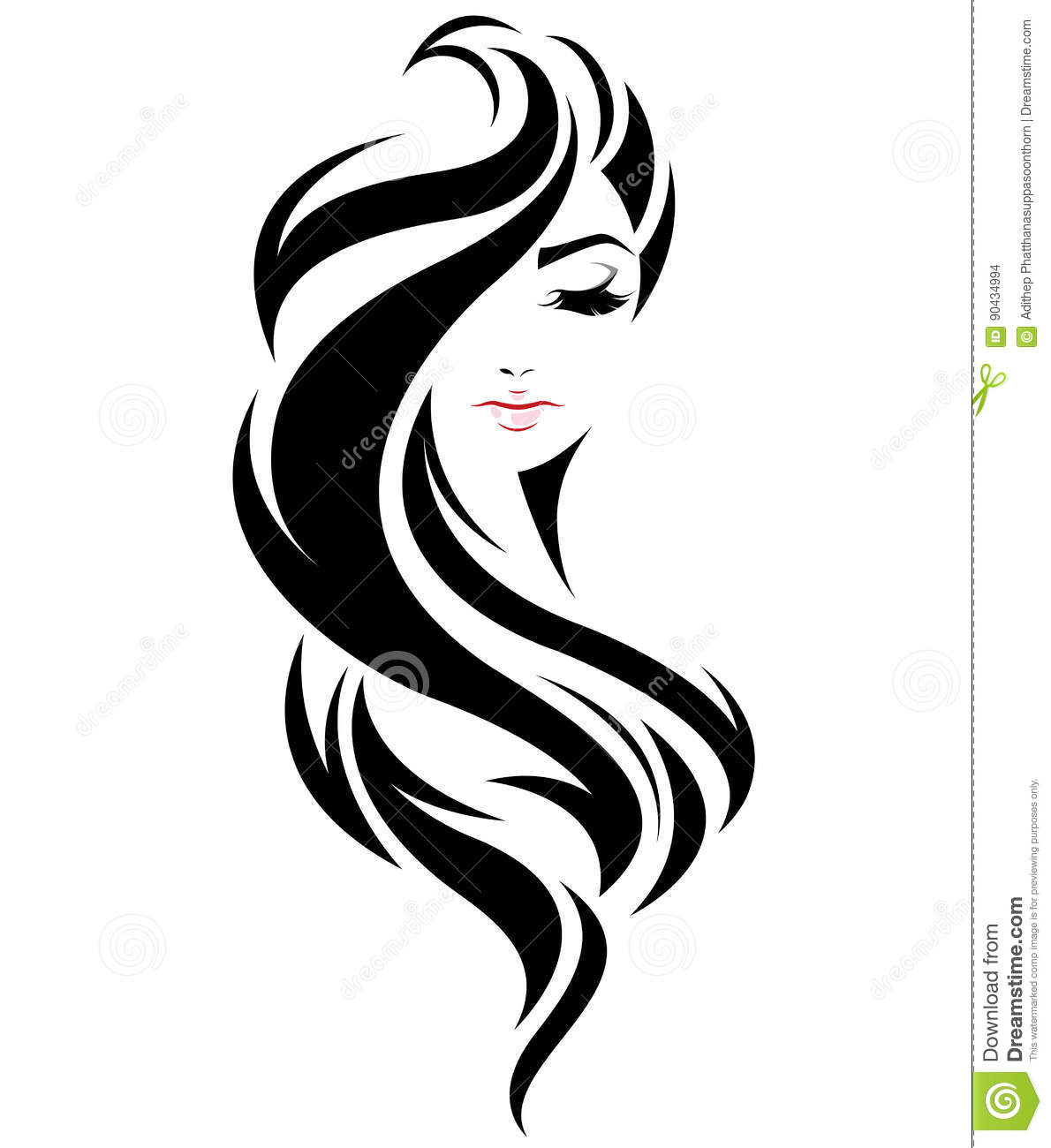 Wedding Hair Style Black Vector Art: Women Long Hair Style Icon, Logo Women Face On White