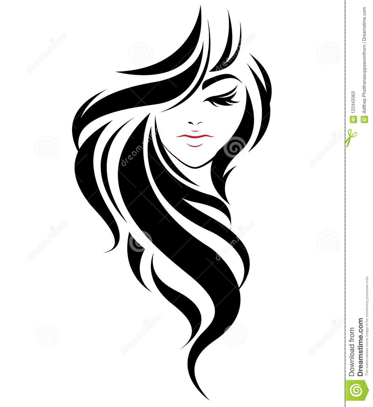 Vector Hairstyles: Women Long Hair Style Icon, Logo Women On White Background