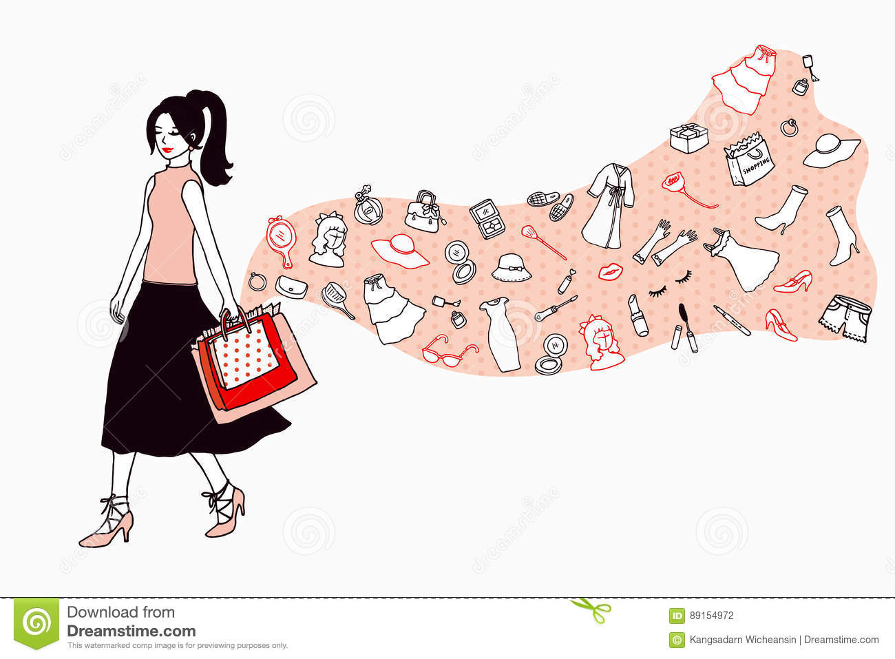 Women Love Fashion And Beauty Go Shopping Illustration