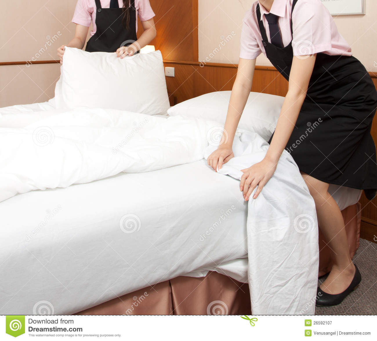 Women Maid Making Bed In Hotel Room Stock Image Image
