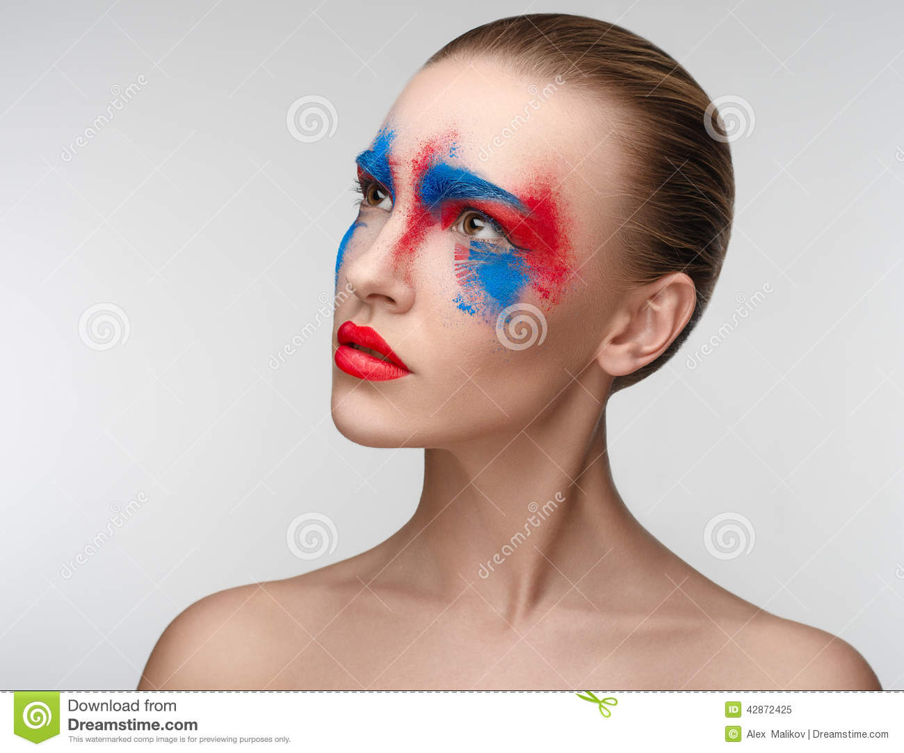 Women Makeup Beauty Blue Red Eye Colors Stock Photo