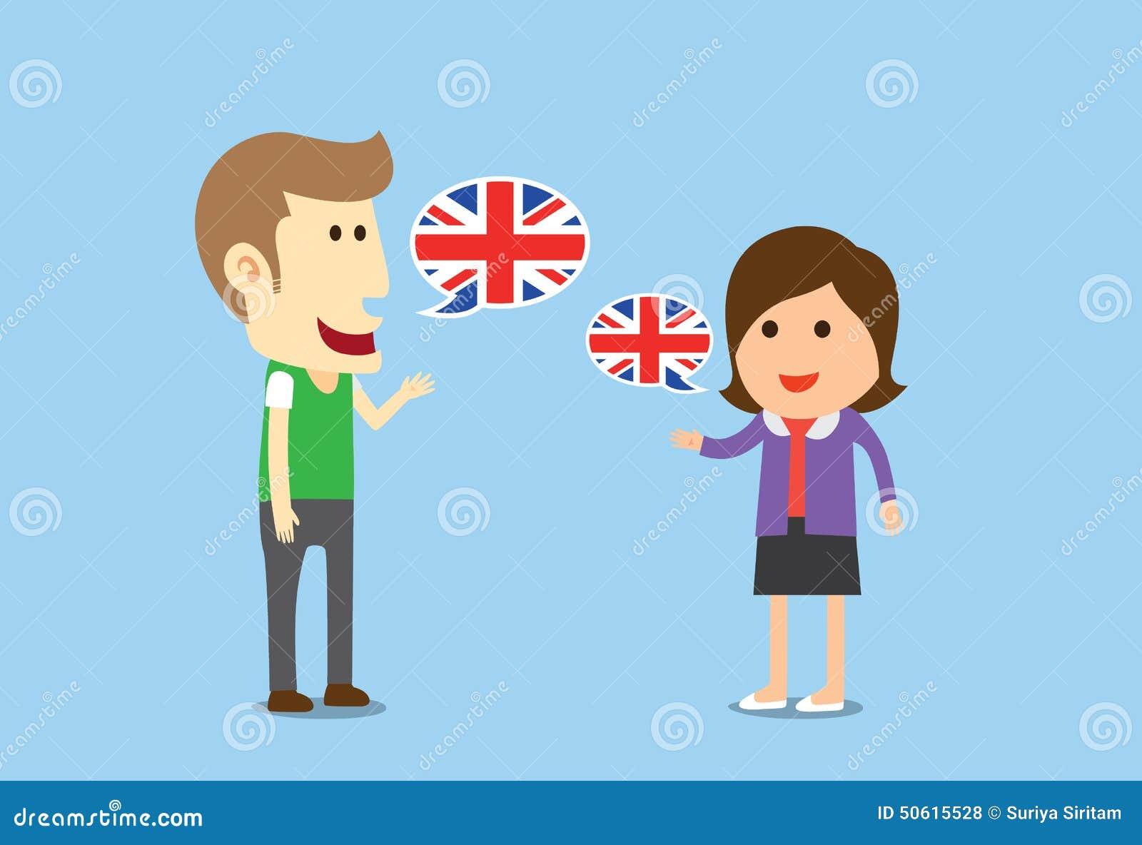 Women And Man Speaking English Stock Vector