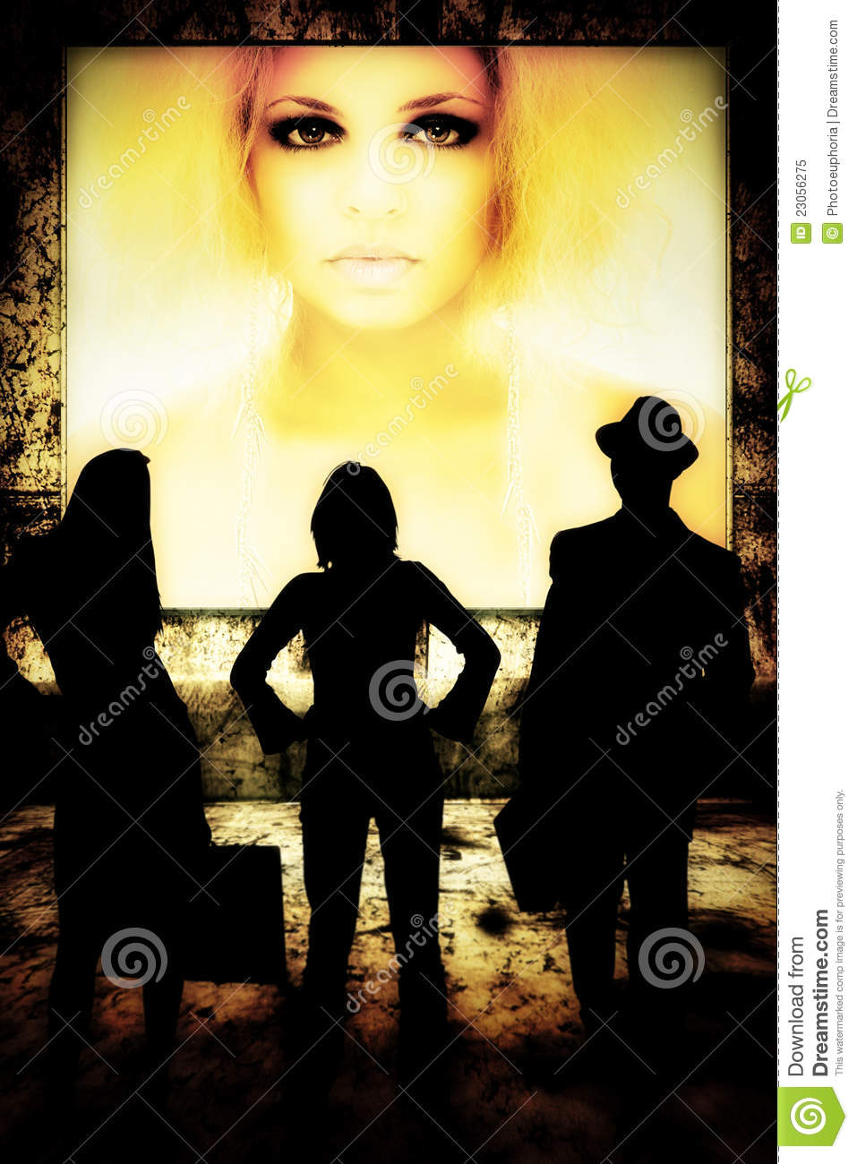 Women and man standing in front of young woman on