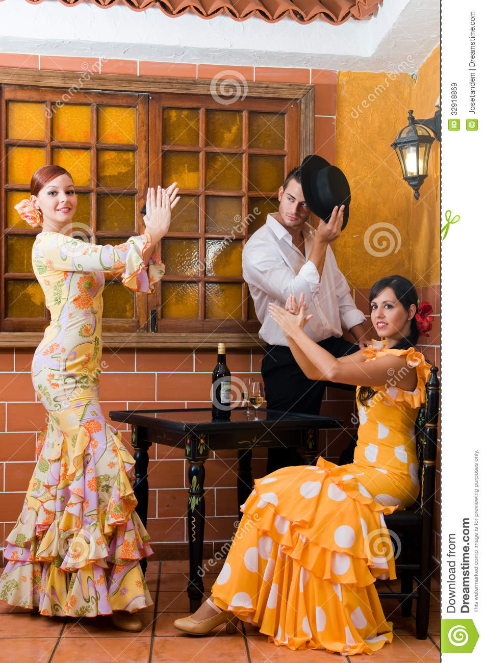Women and man in traditional flamenco dresses dance during the Feria de Abril on April Spain  sc 1 st  Dreamstime.com & Women And Man In Traditional Flamenco Dresses Dance During The Feria ...