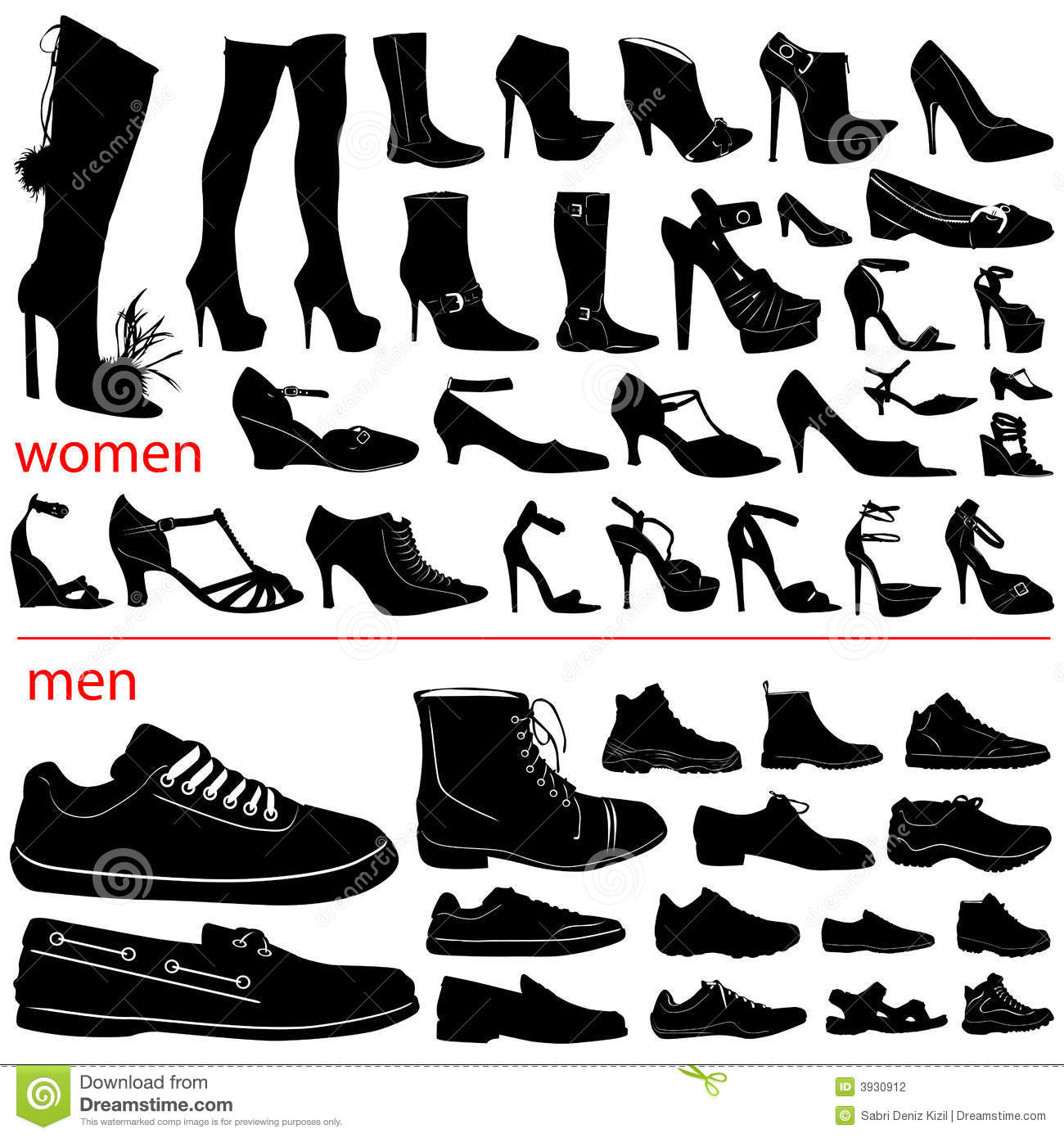 Women And Men Shoes Vector Stock Photography - Image: 3930912