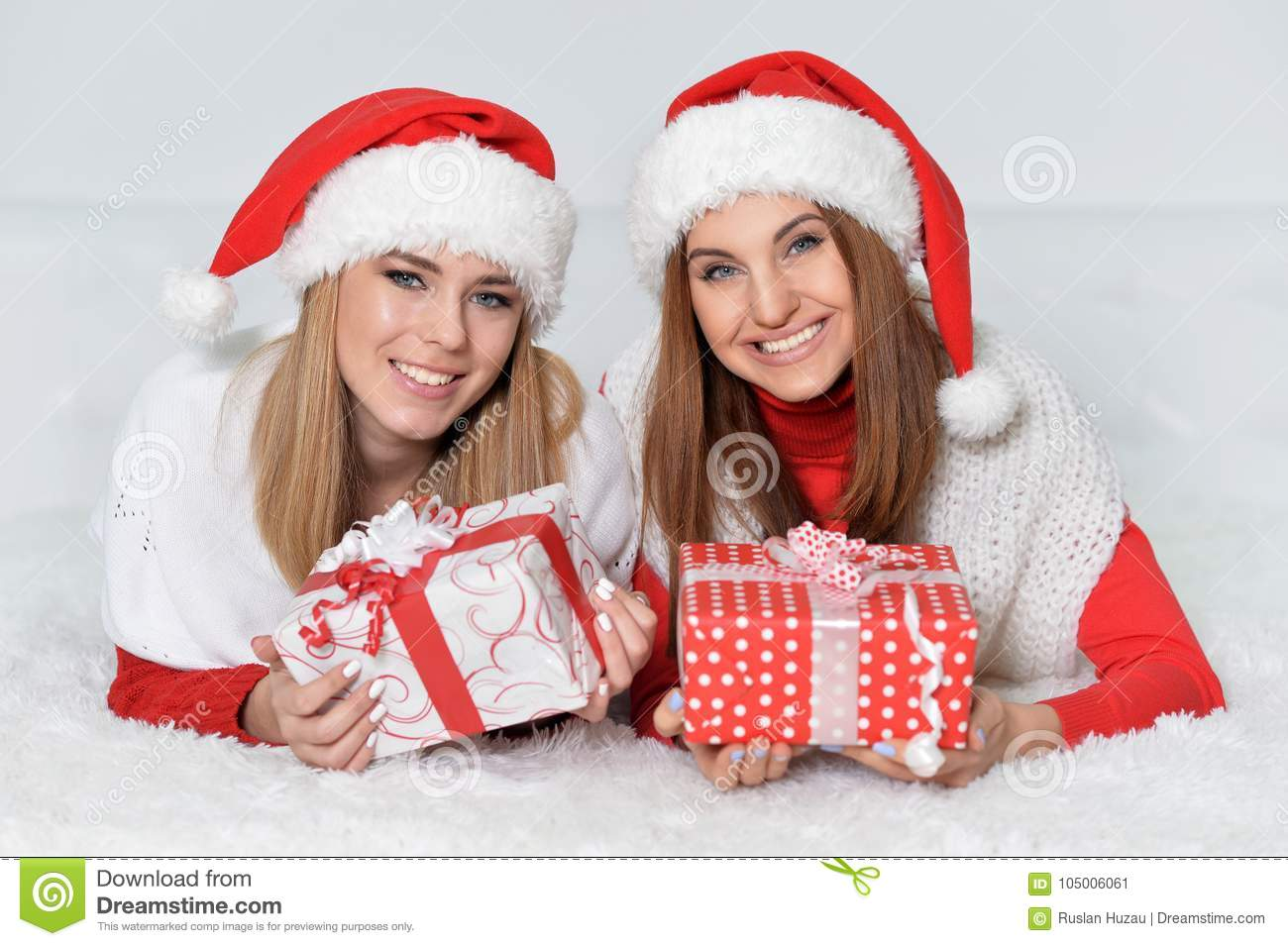 Christmas Presents For Women.Women Opening Christmas Presents Stock Image Image Of