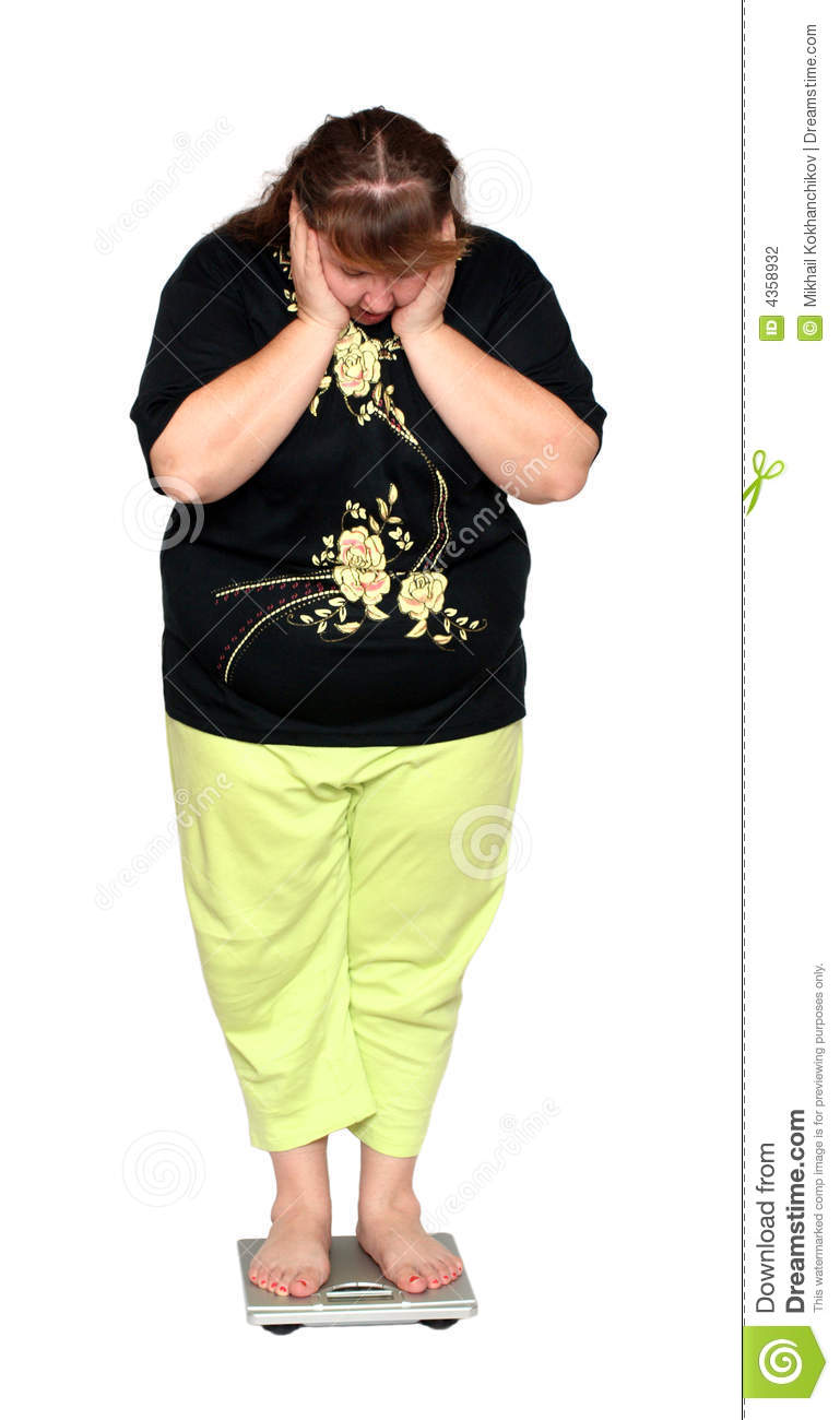 Women With Overweight Scales Stock Photography