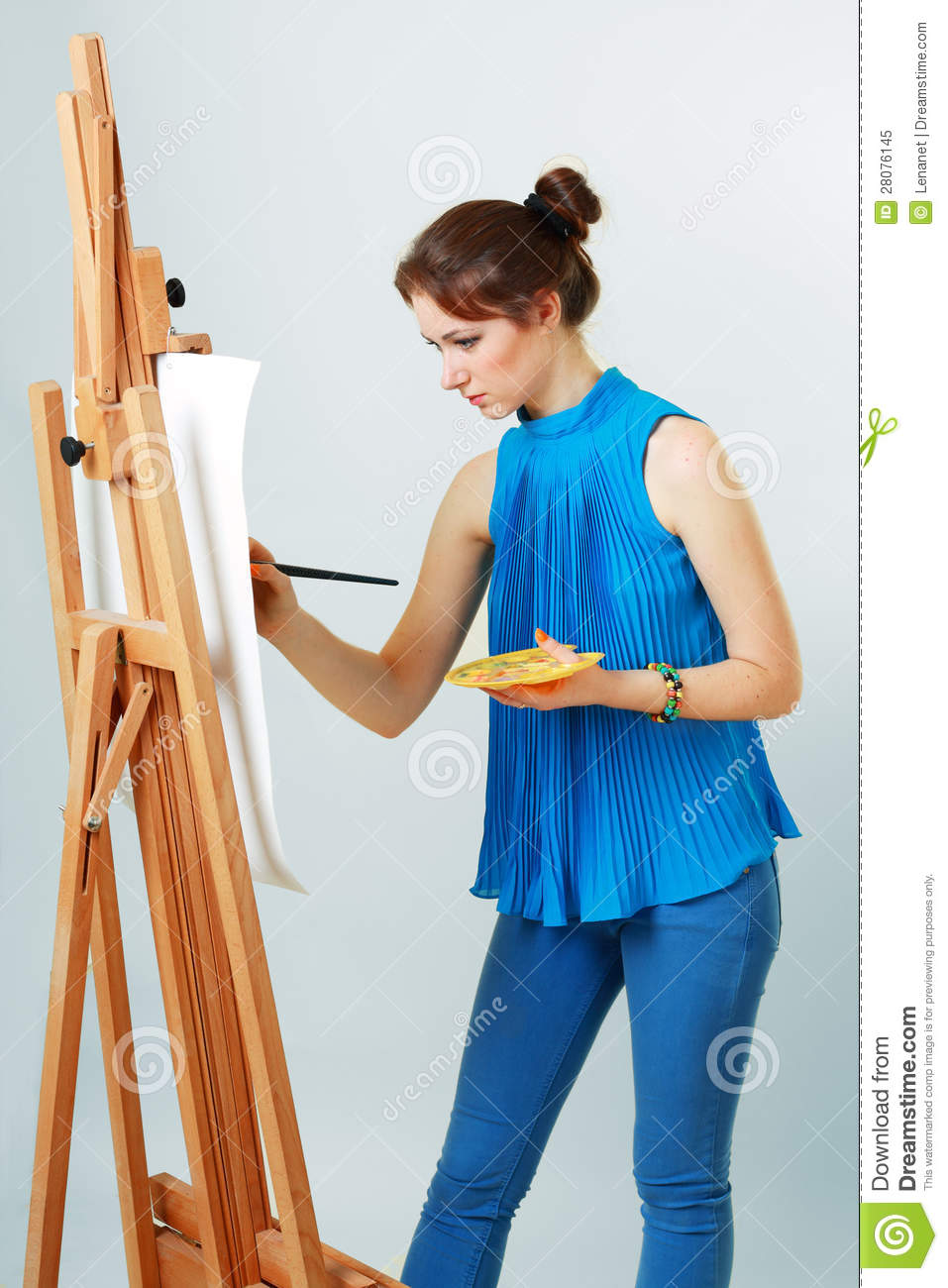 Women painter with easel stock image. Image of paintbrush ...