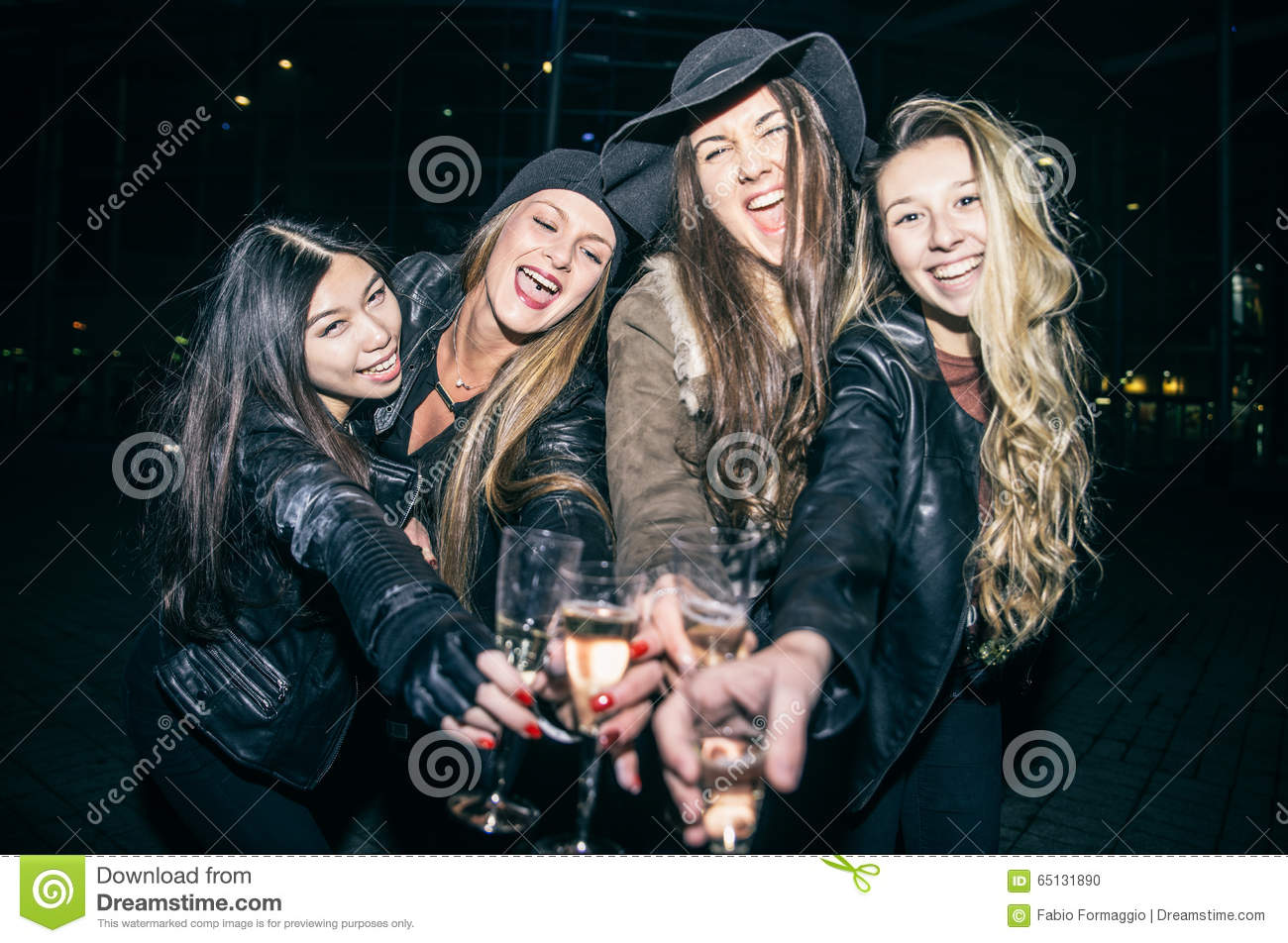 women partying outdoors stock photo image of having 65131890