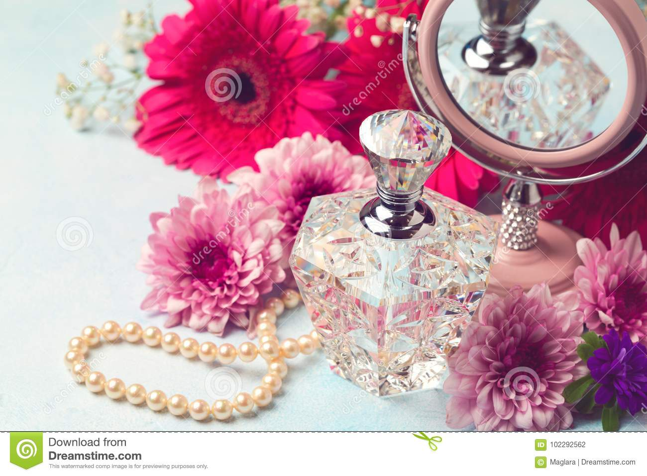 Women Perfume Bottle And Pearl Necklace Stock Photo Image Of