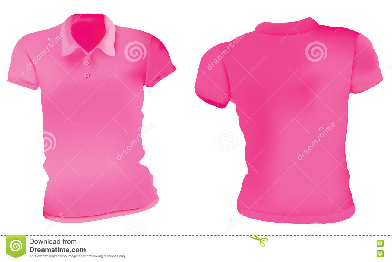 Women Pink Polo Shirts Template Stock Vector Illustration Of