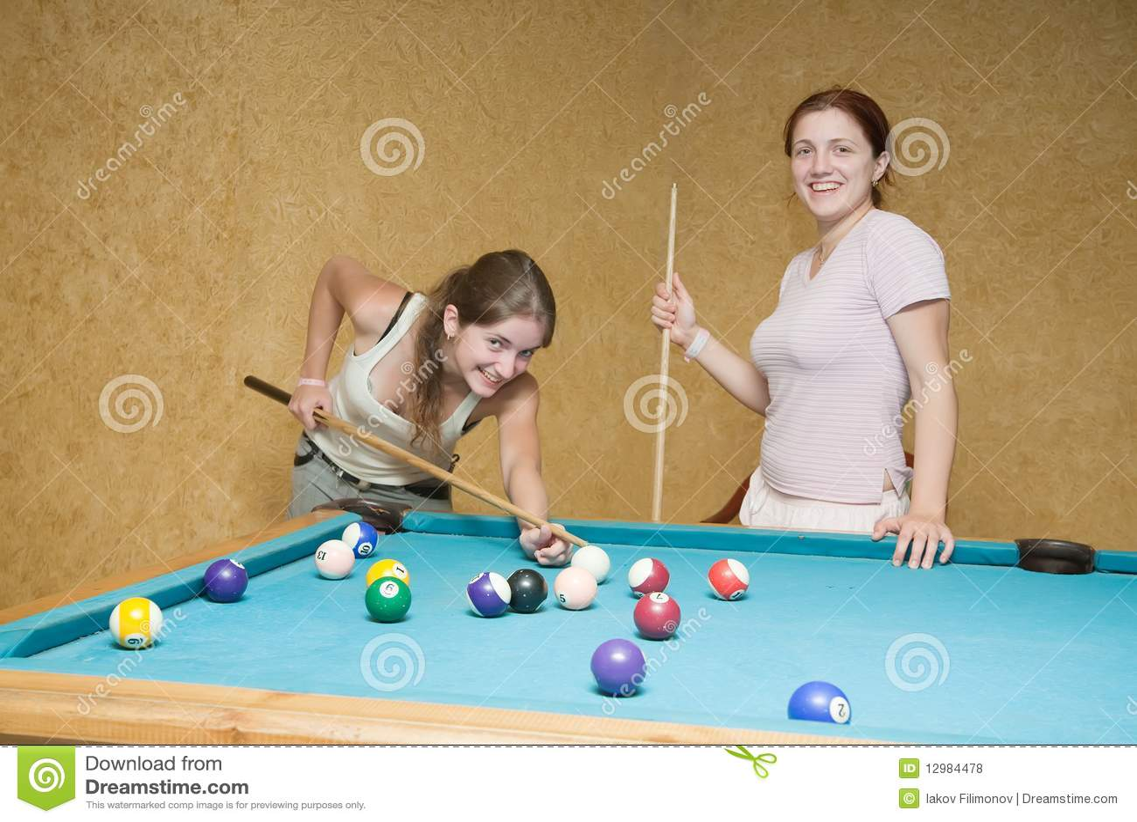 Women Playing Billiards Royalty Free Stock Photos Image