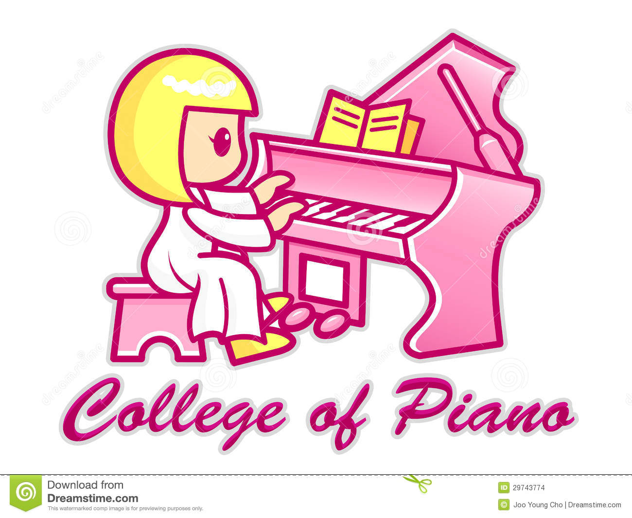 Character Design College Major : Women are playing a grand piano college of mascot