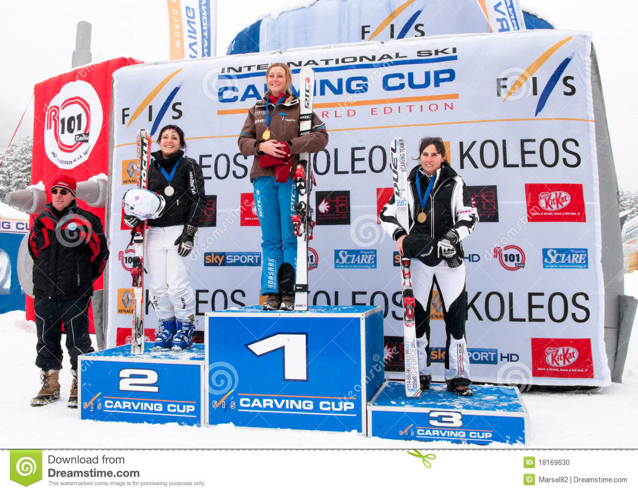 women podium of carving world challenge 2011 editorial image