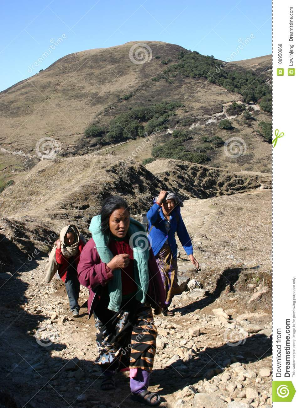 Women porter parade on a Himalayan trail