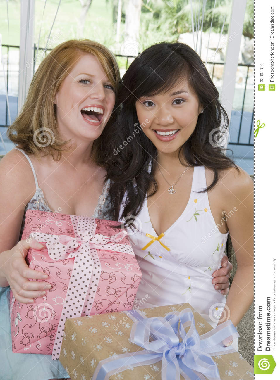 download women with presents at bridal shower stock image image of asian celebration