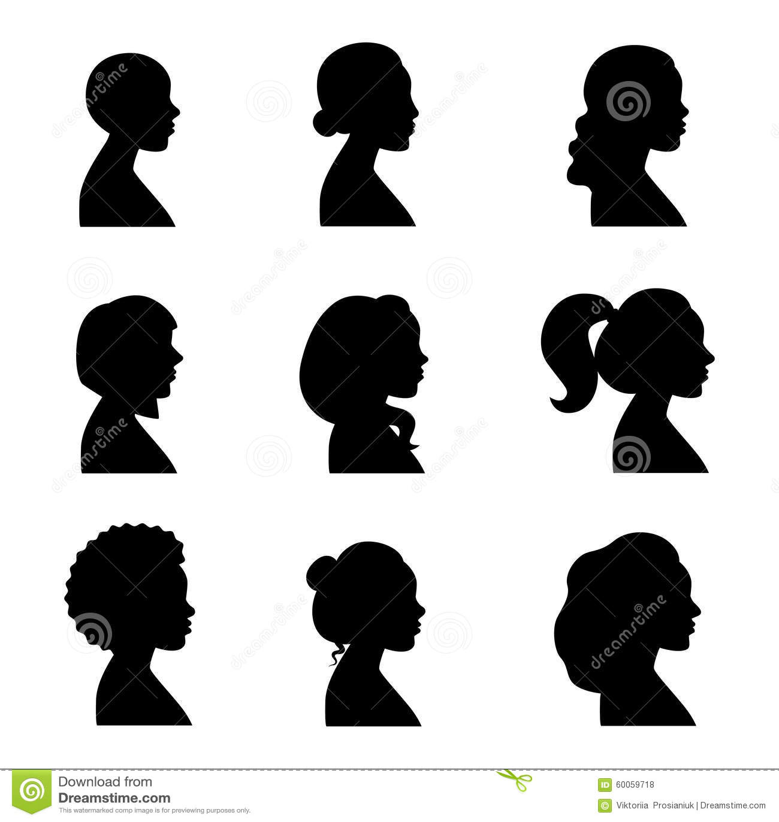 Women Profiles Silhouettes Vector Set Black Stock Vector