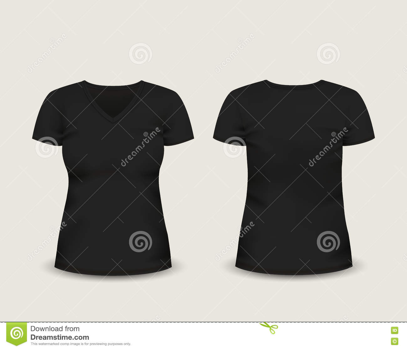 Black t shirt vector front and back - Women S Black V Neck T Shirt Short Sleeve With In Front And Back Views