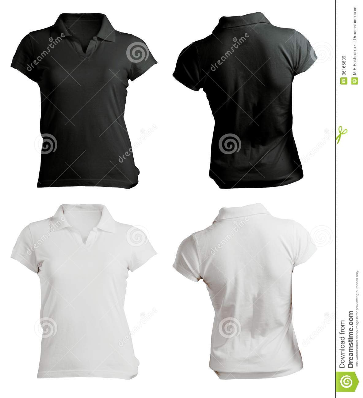 Womens Blank Black And White Polo Shirt Template Stock Image
