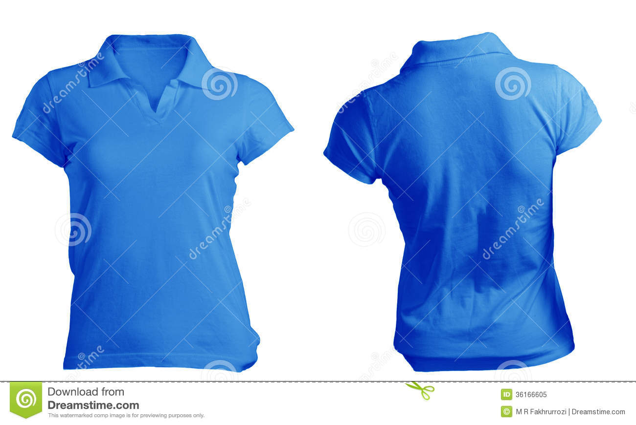 Womens Blank Blue Polo Shirt Template Stock Image Image Of Front