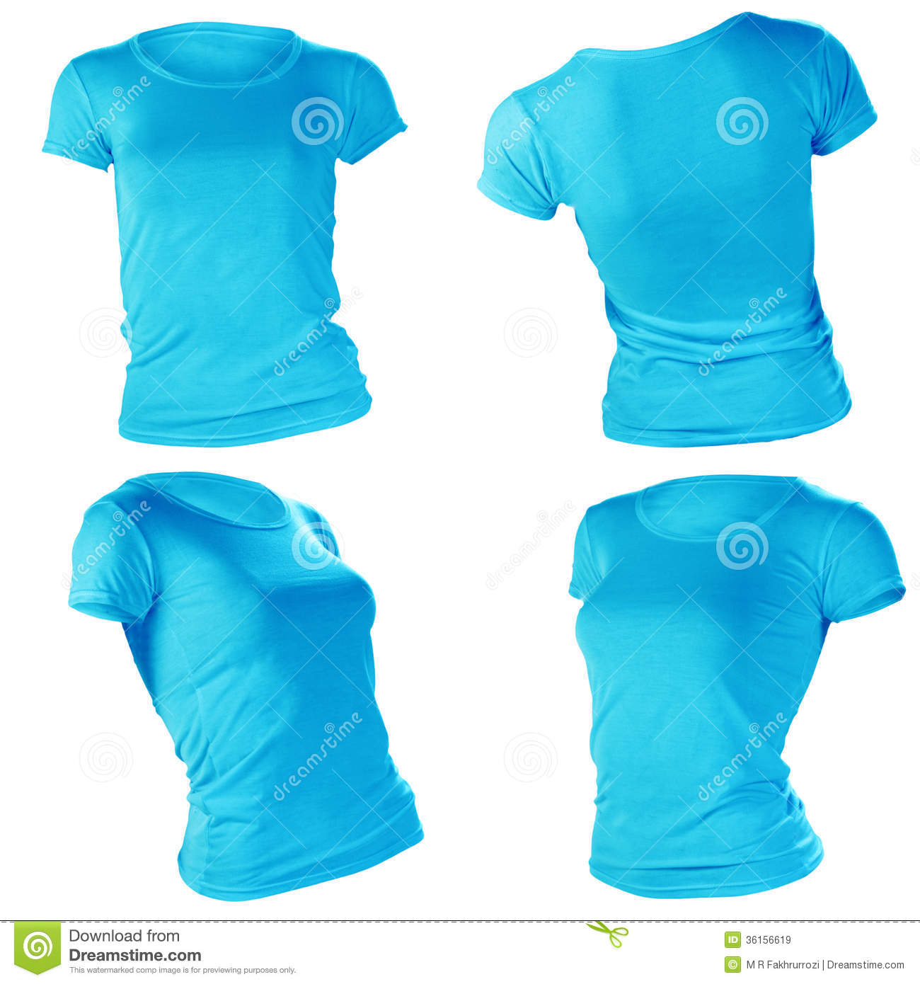 Women S Blank Blue T Shirt Template Stock Image Image Of