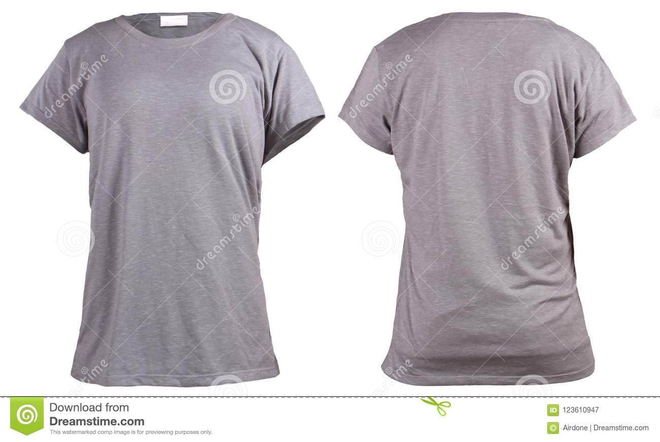 Womens Blank Grey T Shirt Front And Back Design Template