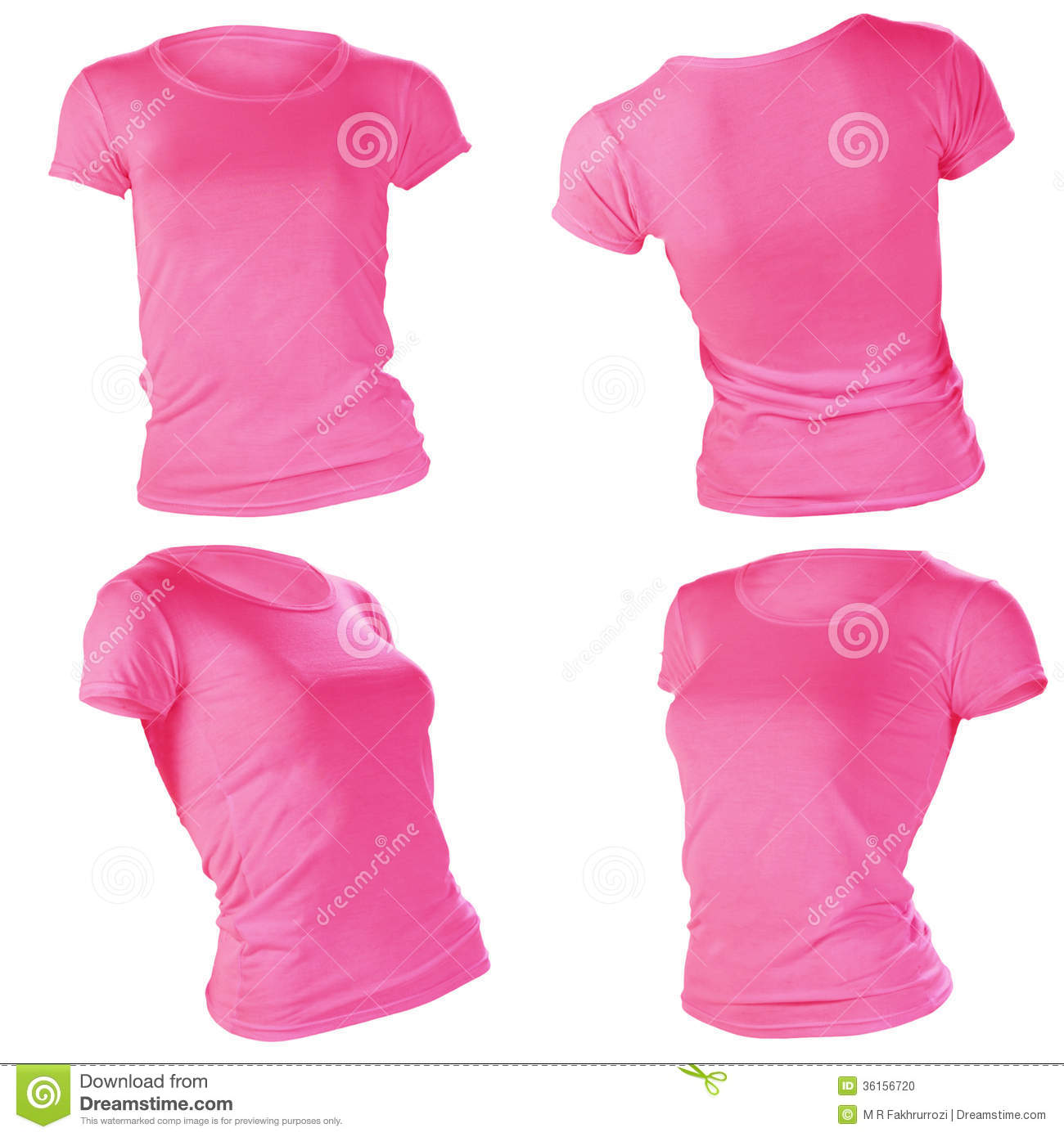 Women's Blank Pink T-shirt Template Stock Photo - Image: 36156720