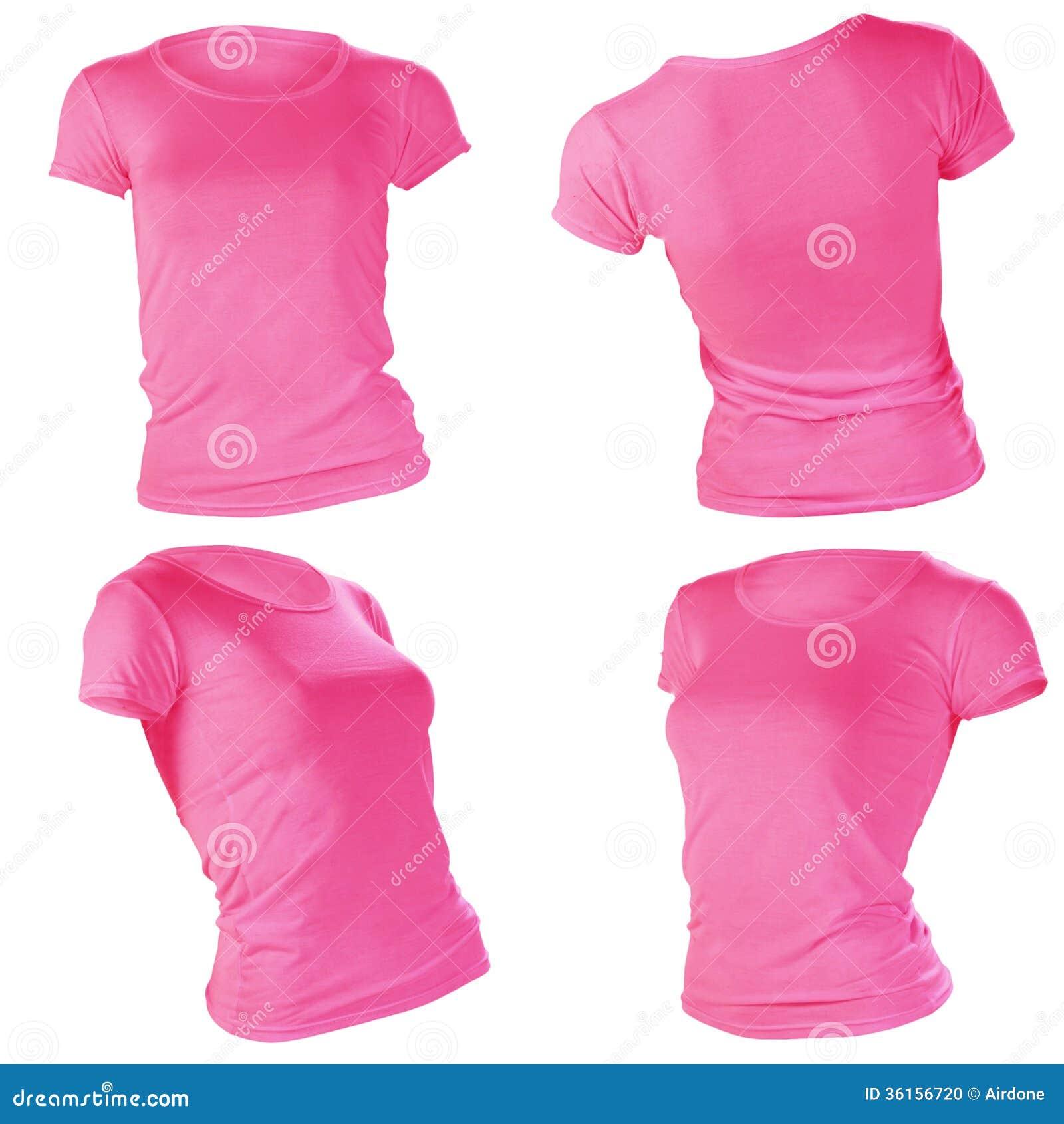 Women 39 s blank pink t shirt template stock photo image for Pink t shirt template