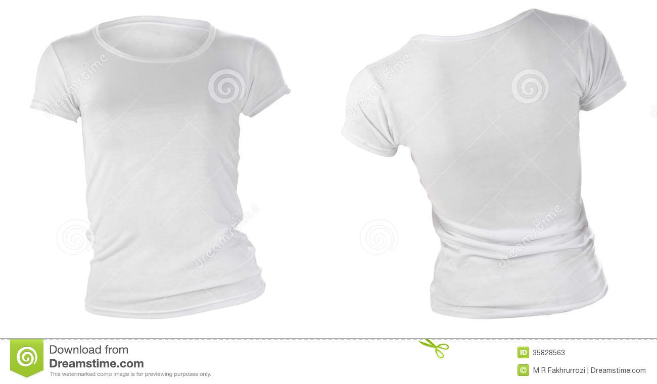 White t shirt front and back template - Women S Blank White T Shirt Template Stock Photos