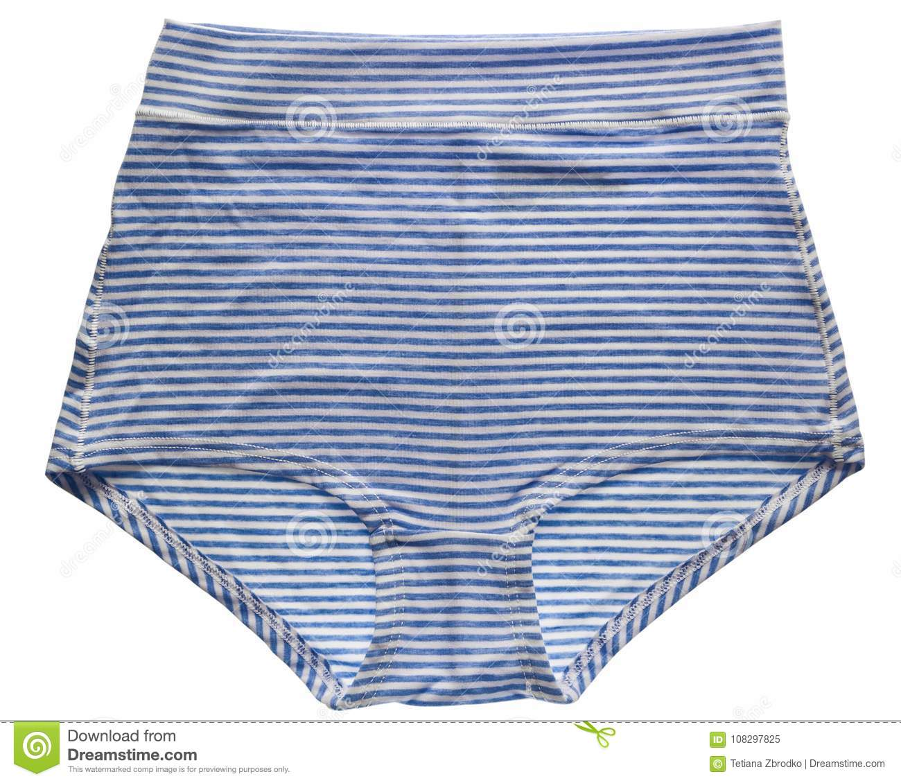 3966ae3a3ef3 Women`s blue stripe cotton panties isolated on white background. Cotton  underwear.