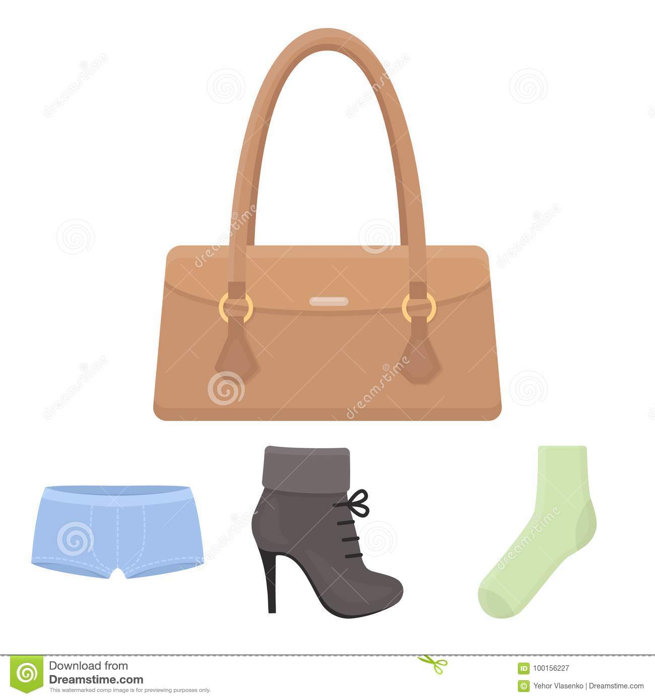 765adbb404a49 Women`s Boots, Socks, Shorts, Ladies` Bag. Clothing Set Collection ...