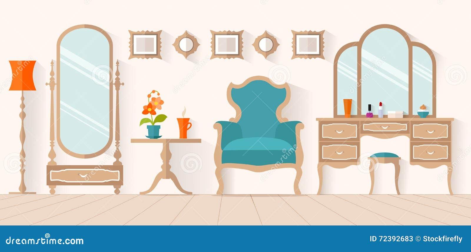 Women 39 s boudoir interior design vector dressing room for Table design vector
