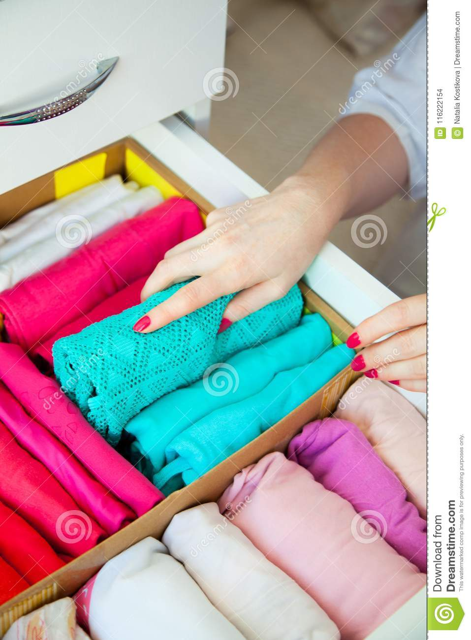 Women S Clothing In The Drawers Of The Wardrobe Underwear T Sh