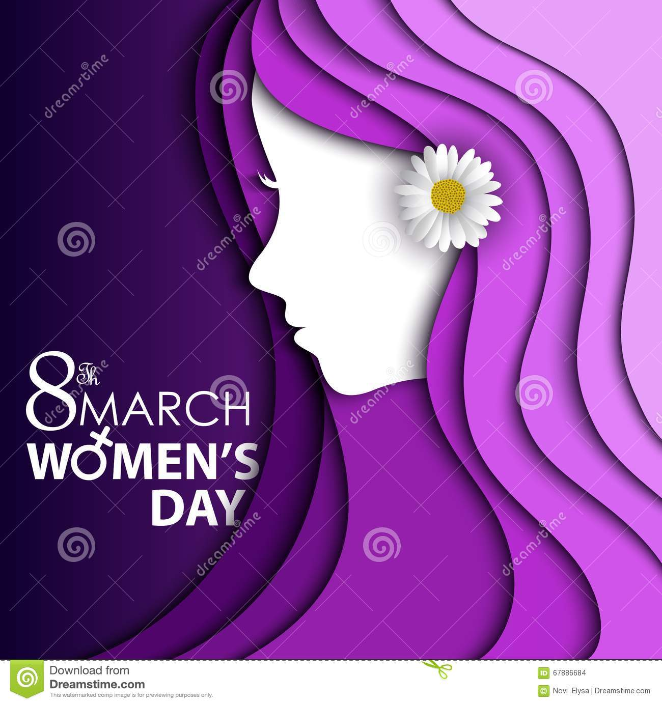 Women s Day greeting card with flower in ear on purple background with design of a women face and text 8th March Women Day