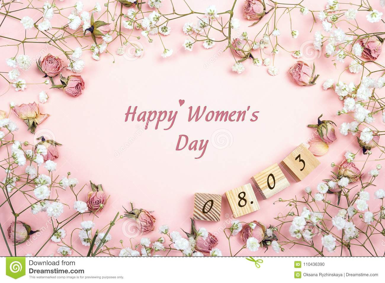 Women`s Day greeting message with floral frame and date. Flat la