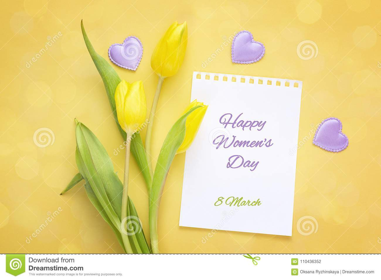 Women`s Day greeting message with yellow tulips on ayellow backg