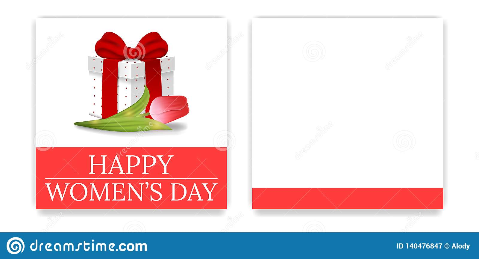 Women`s Day Party Invitations and Greeting Cards with Gift Box and Tulip. Gift Box with Red Bow. Front Side and Backside. Vector.