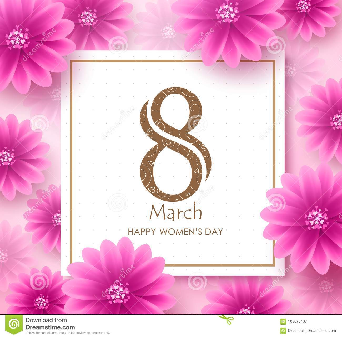 Women`s day vector banner design template with march 8 text