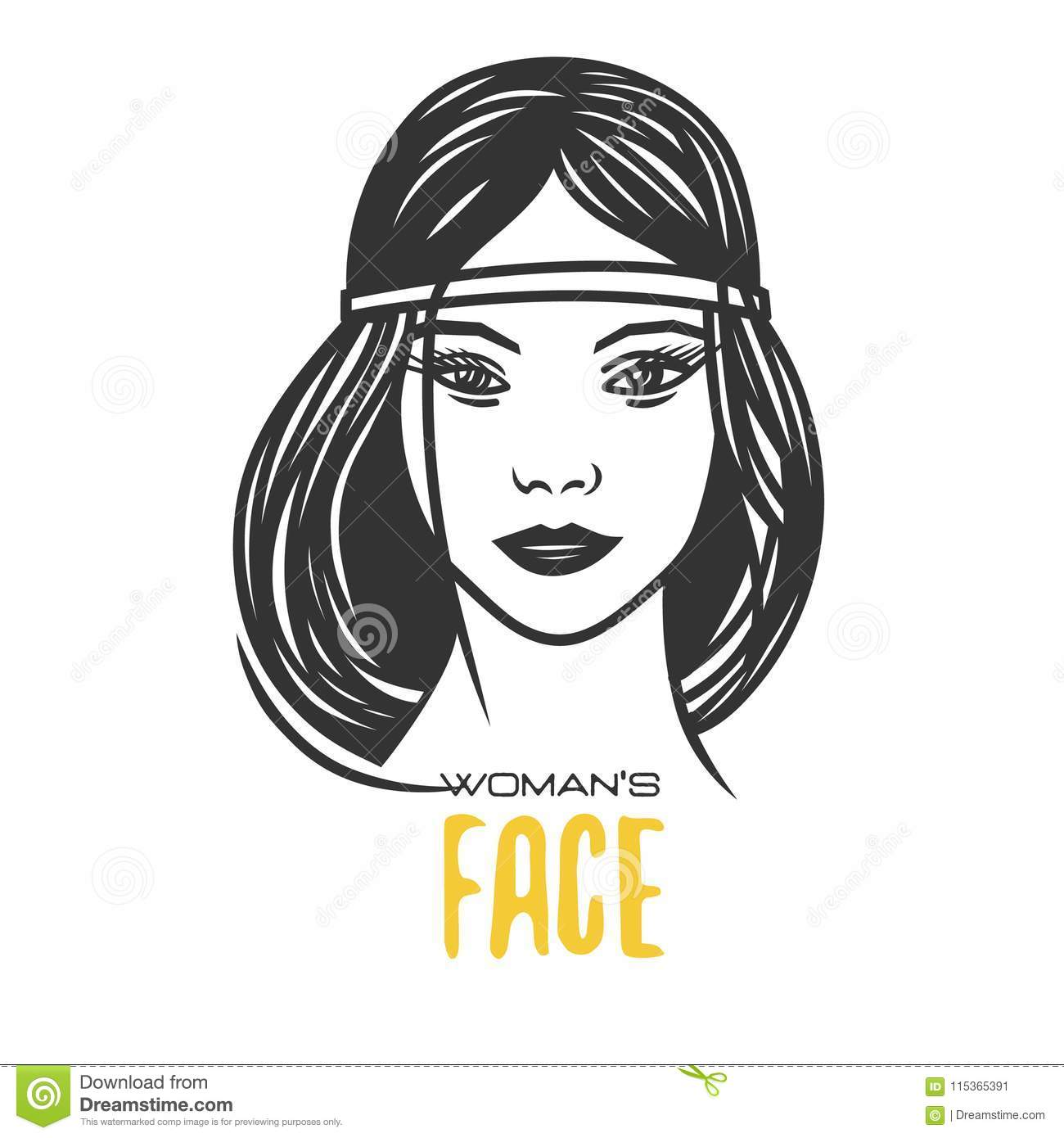 Womens faces black and white vector object