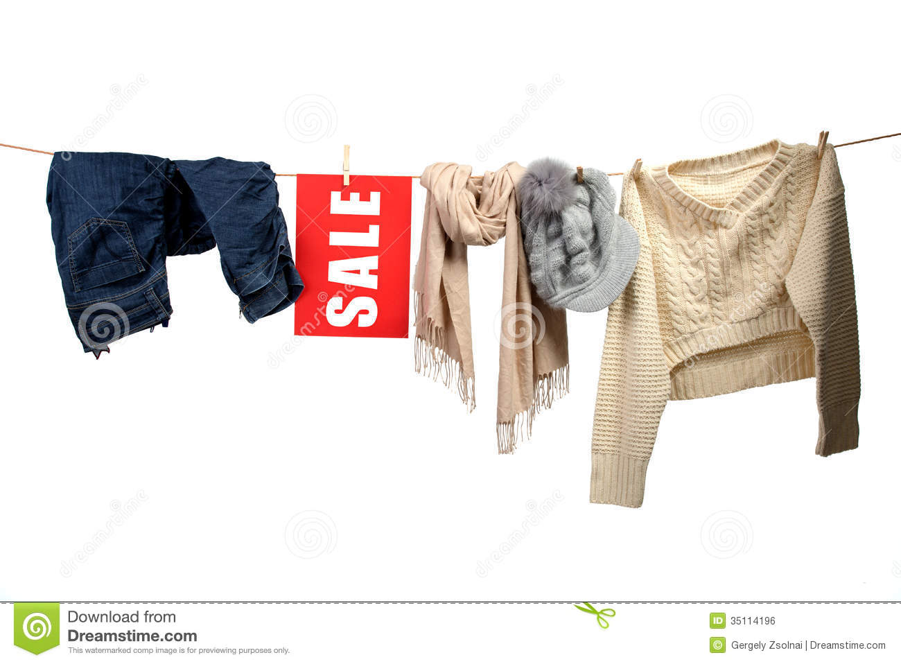 e5330984ece9a Women's Fashion Sale On The Clothesline Stock Photo - Image of ...